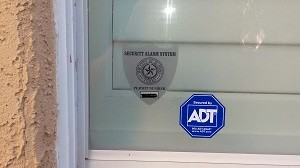 ADT decal at window