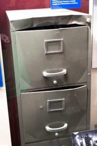 filing cabinet forcefully opened